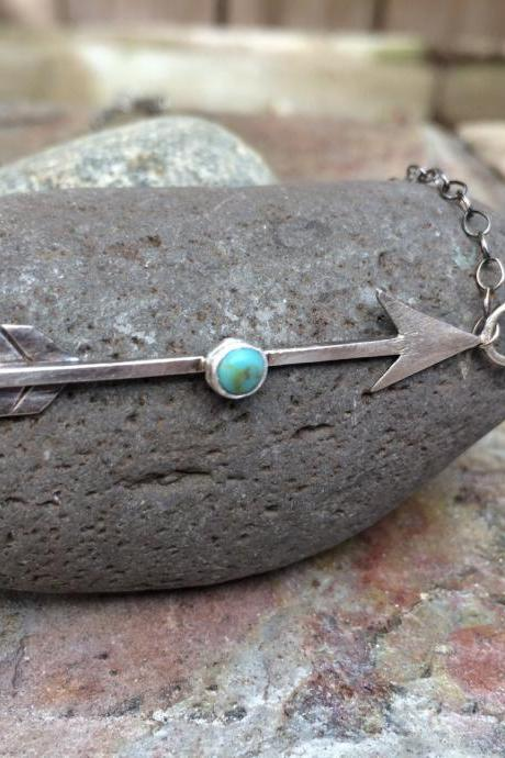 Sterling Silver and Turquoise Arrow Necklace